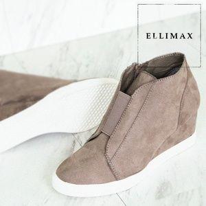 NEW🔥 Round Toe Med Wedge Heel Platform Sneakers